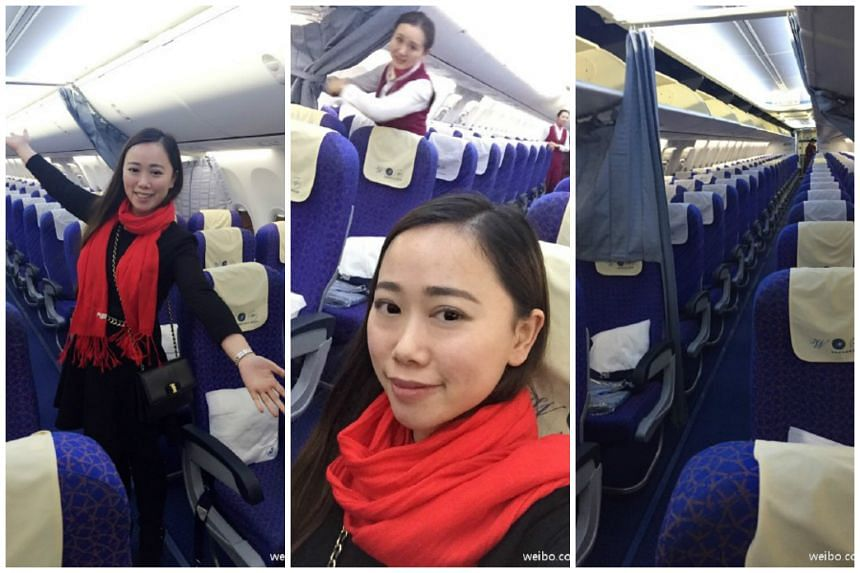Ms Zhang posted photos showing only herself and flight attendants on the plane on Weibo.