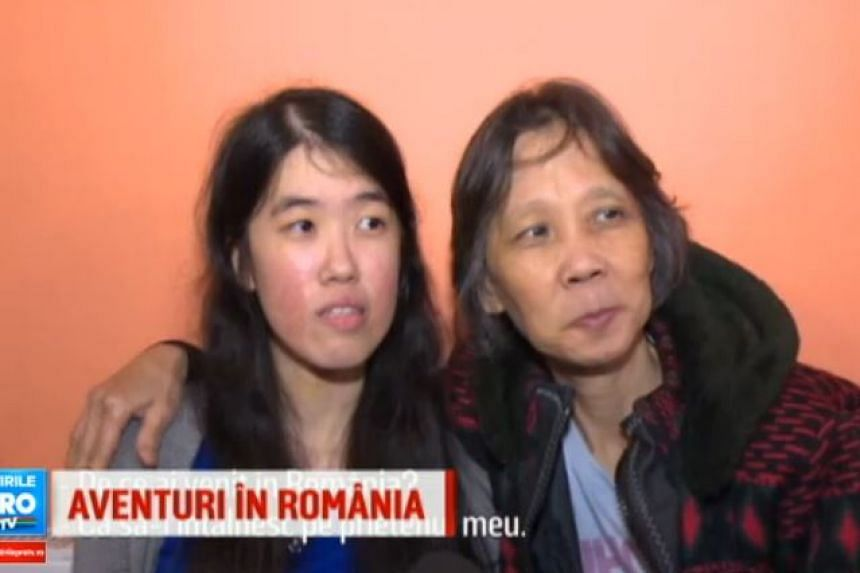 Ms Yap and her mother during the TV interview with Romanian broadcaster Pro TV.