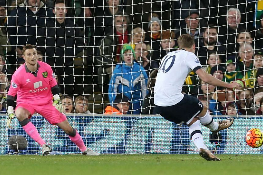 Harry Kane scores the second goal in the English Premier League football match between Norwich and Tottenham Hotspur.
