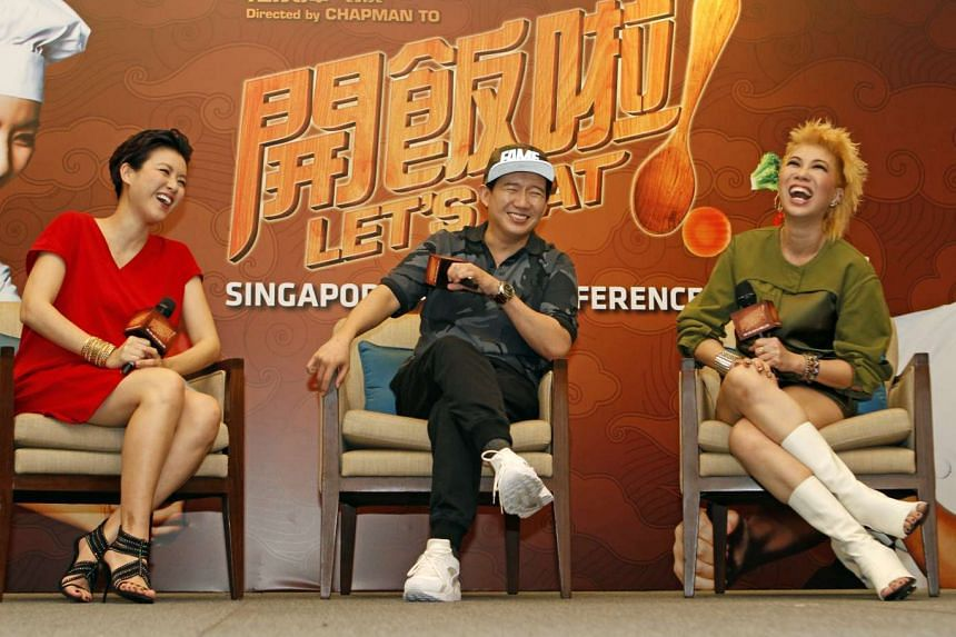 Actor-director Chapman To (centre) shares a light moment with actors Aimee Chan (left) and Patricia Mok (right).