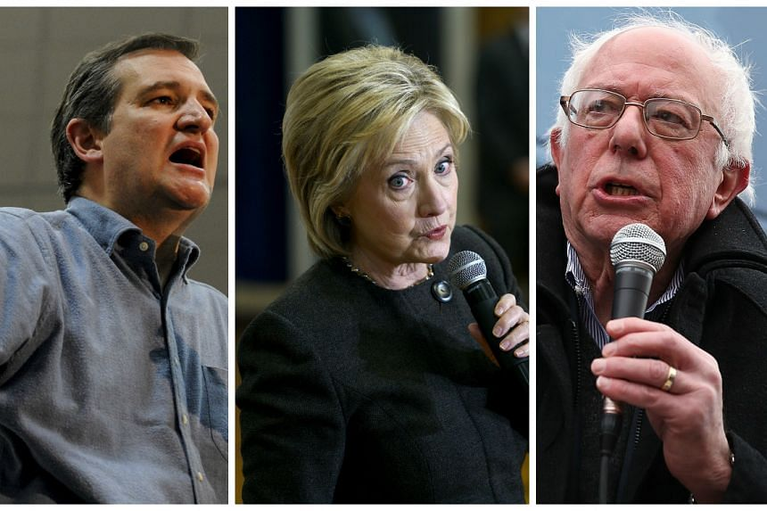 (From left) Ted Cruz, Hillary Clinton and Bernie Sanders.