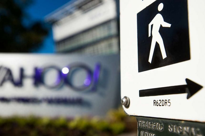 A pedestrian street crossing sign at Yahoo! headquarters in Sunnyvale, California.