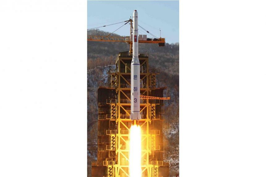 """A satellite being launched from Sohae, North Korea, on December 2012. PHOTO"""" EPA"""