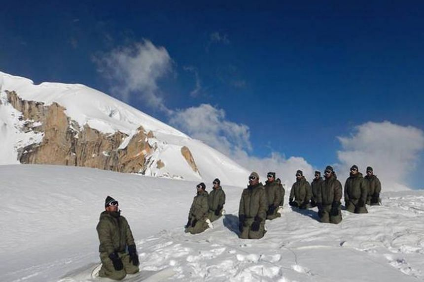 Indian Army personnel participating in Yoga Day celebrations at Siachen glacier.