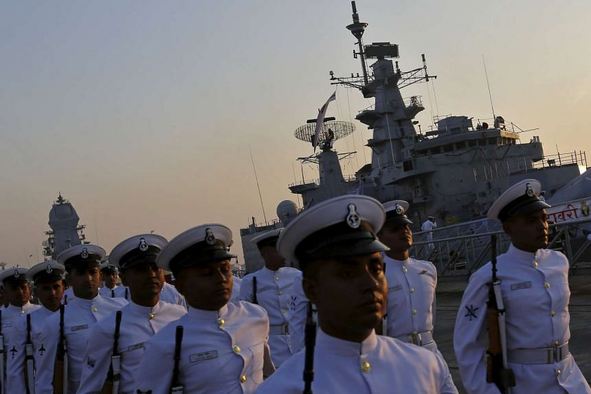 India kicked off a major display of maritime might with ships from 50 navies.