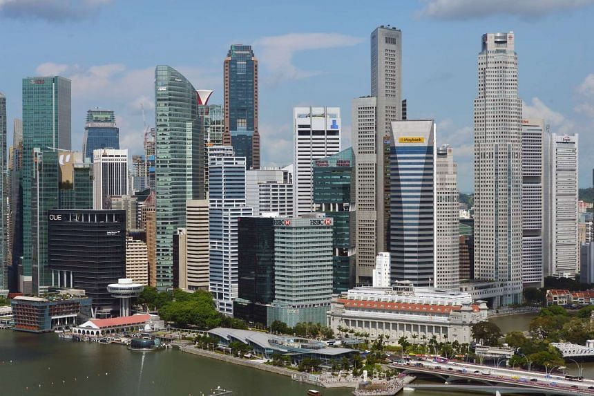 Skyline photo of the Singapore Central Business District.