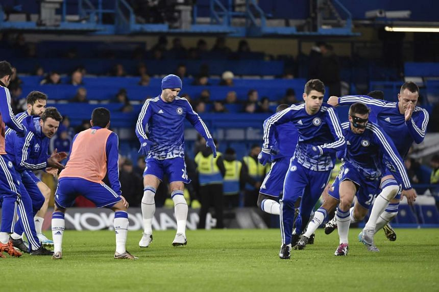 Chelsea players at a pre-match warm-up.