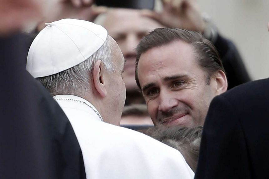 British actor Joseph Fiennes greets Pope Francis during the weekly audience in Saint Peter's Square.