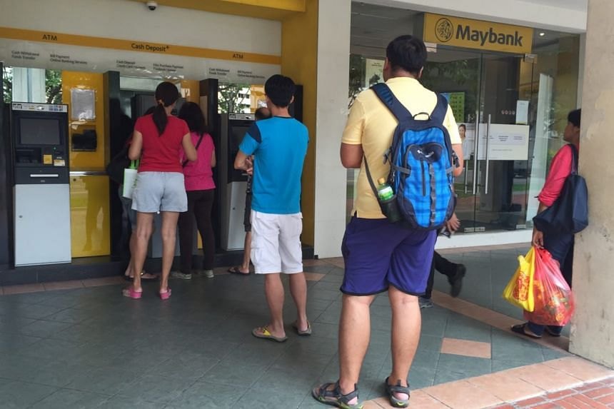 Slightly shorter queues seen at Maybank in Bedok Town Centre.