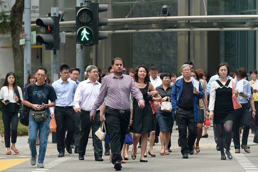 Office workers in Singapore's Central Business District (CBD).