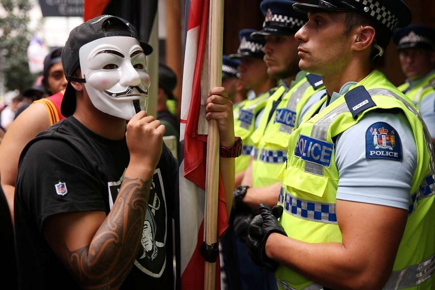 Protestors and police come face to face as protestors close down streets in the city of Auckland to express their displeasure of the Trans-Pacific Partnership agreement.