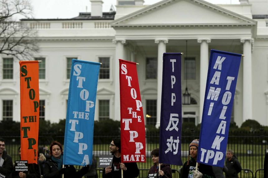 Opponents of the Trans Pacific Partnership (TPP) trade agreement protest outside of the White House in Washington.