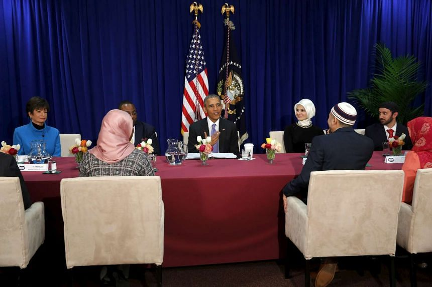 US President Barack Obama holds a roundtable with Muslim American community leaders at the Islamic Society of Baltimore mosque in Catonsville, Maryland.