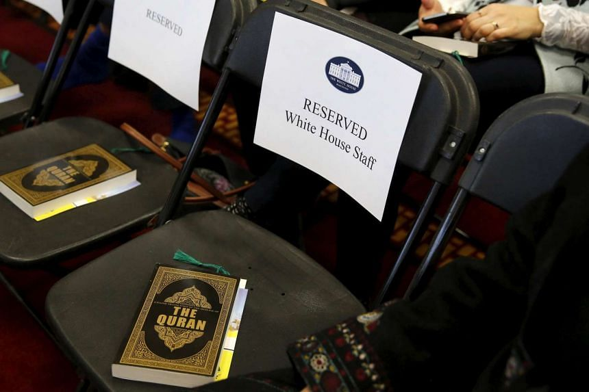 Copies of the Quran sit on chairs, including those reserved for White House staff members,  at the Islamic Society of Baltimore mosque.
