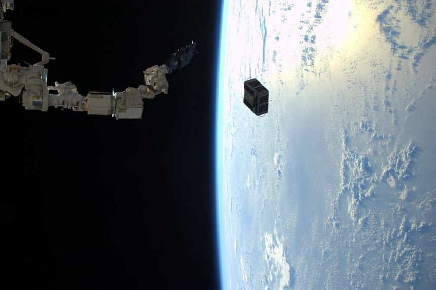 Satellites being deployed from the ISS on Jan 29, 2016.