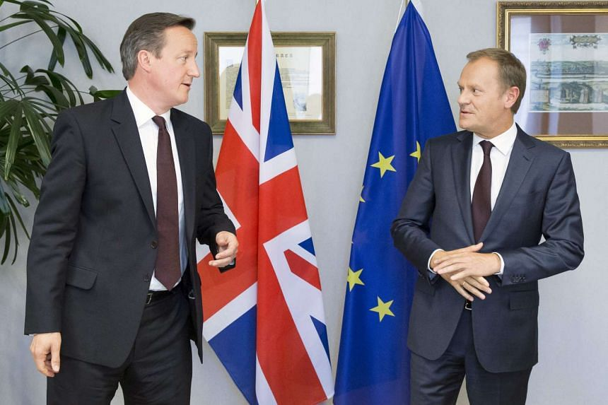 Mr Cameron (left) during a meeting with European Council president Donald Tusk in Brussels on June 25 last year. A draft EU deal aiming to keep Britain in the bloc recognises for the first time that some countries do not share the objective, enshrine