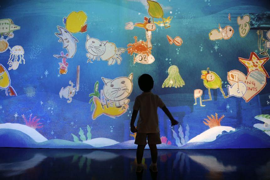 The Doodle Aquarium at children's edutainment centre MOSH! is an interactive digital aquarium.