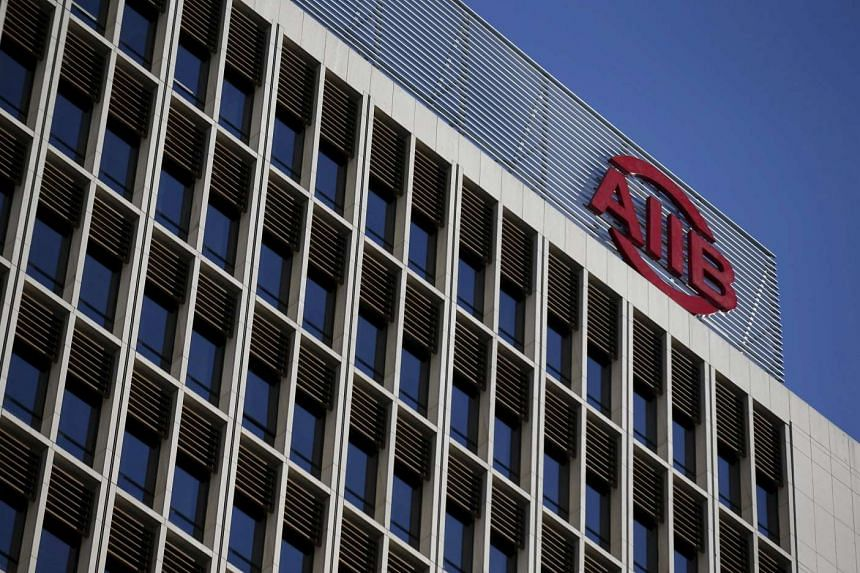 The logo of Asian Infrastructure Investment Bank (AIIB) at its headquarter building in Beijing.