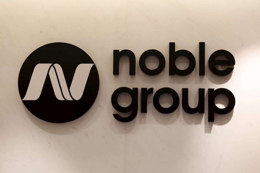 The Noble Group logo is displayed at its office in Hong Kong.