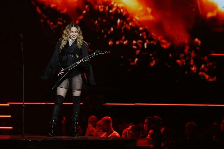 Madonna performing during a concert as part of her tour Rebel Heart at the Jose Miguel Agrelot coliseum in San Juan, Puerto Rico.