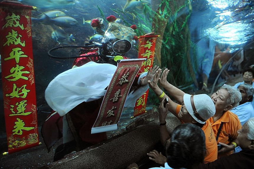 "Thirty-eight elders from Sarah Seniors Activity Centre, aged 69 to 96, gathered at Underwater World Singapore yesterday morning to touch palms with an underwater ""God of Fortune"" in scuba gear for good luck. The seniors were also presented with manda"