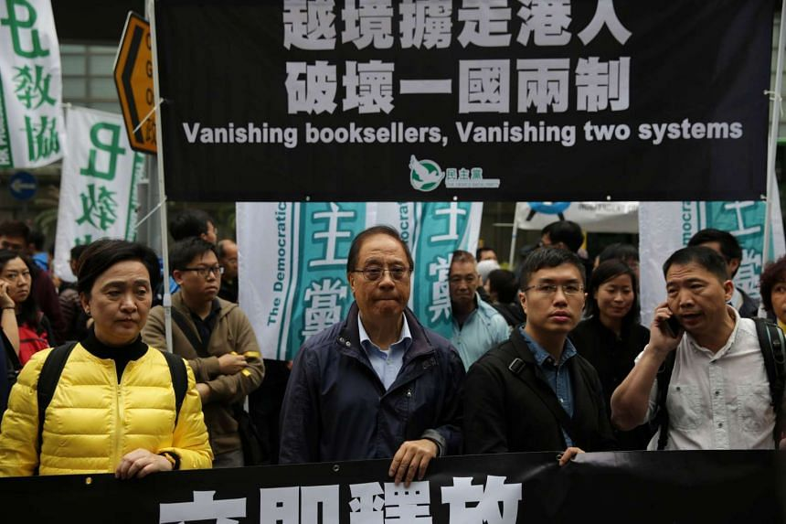 Protesters calling for the release of missing booksellers from Hong Kong's Mighty Current publishing house on Jan 10.