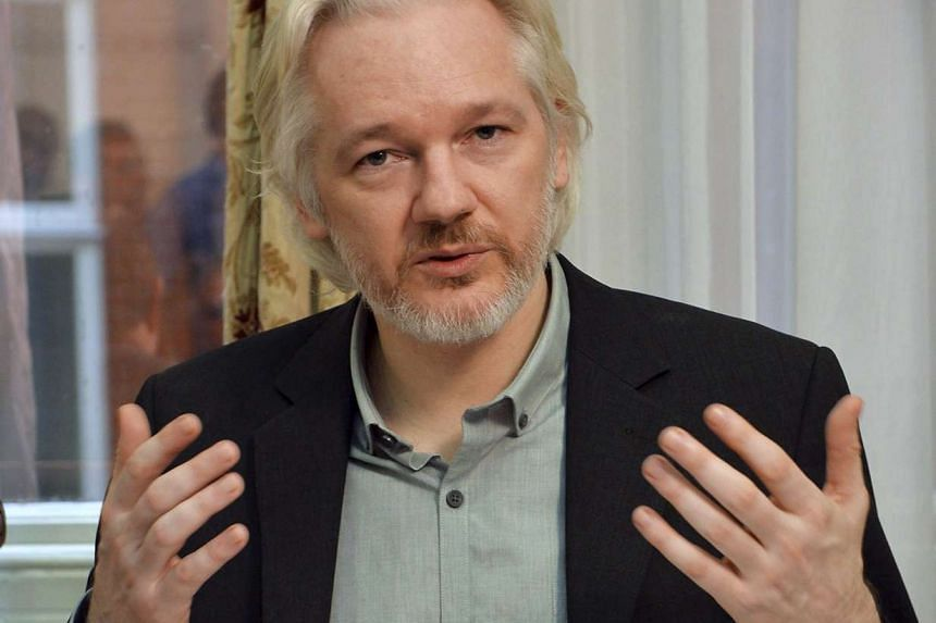 WikiLeaks founder Julian Assange at a news conference at the Ecuadorean embassy in London in 2014.