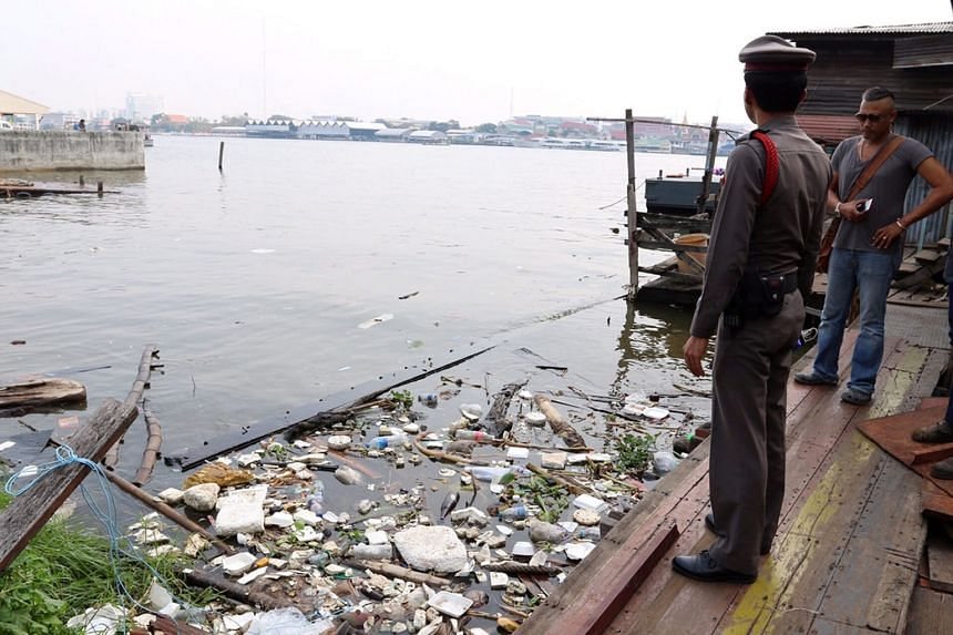 A photo made available yesterday shows where some of the body parts were found in the Chao Phraya river in Bangkok on Jan 30.