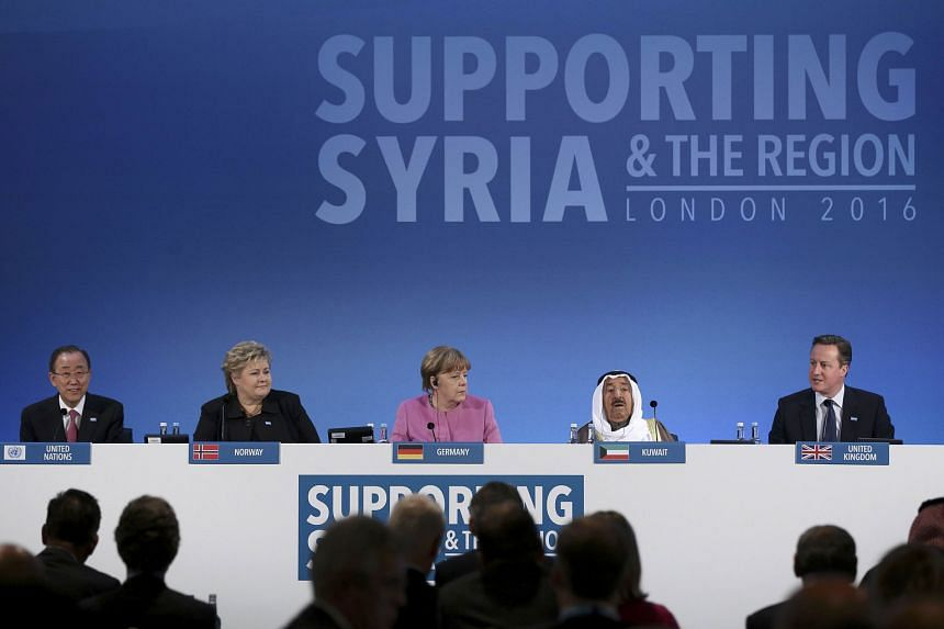 (From left) UN chief Ban Ki Moon, Norwegian Prime Minister Erna Solberg, German Chancellor Angela Merkel and the Emir of Kuwait, Sheikh Sabah al-Ahmad al-Sabah, listening as British Prime Minister David Cameron spoke at the donor conference in London yest