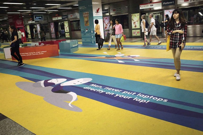 The ads placed in train stations by I Love Children will run for a month. They feature four cartoons of sperm and eggs in situations such as rowing together in a boat or playing darts. ILC says that the campaign is about educating couples on fertilit