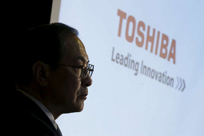 Toshiba President Masashi Muromachi attending a news conference at the company's headquarters in Tokyo on Dec 21, 2015.