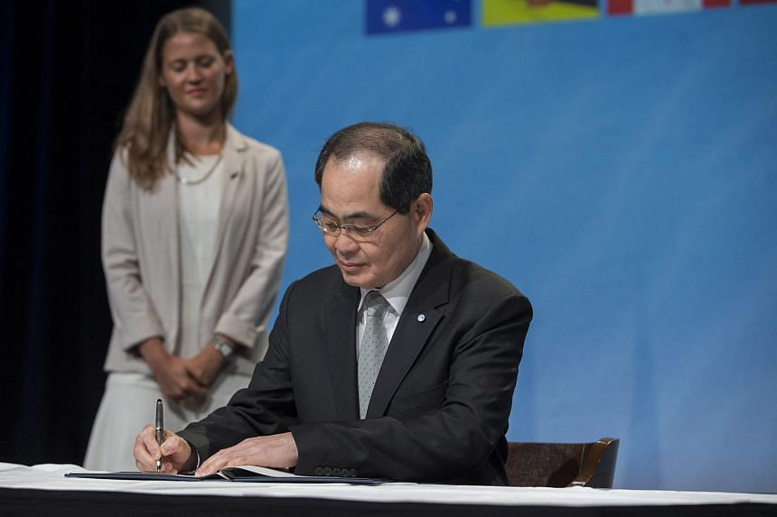 Minister for Trade and Industry Lim Hng Kiang during the signing of the TPP in Auckland, New Zealand, on Feb 4, 2016.