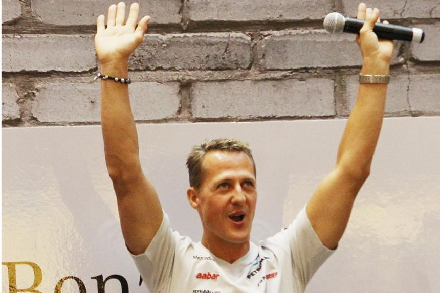 F1 legend Michael Schumacher at a Mercedez event in Singapore on Sept 20, 2012.