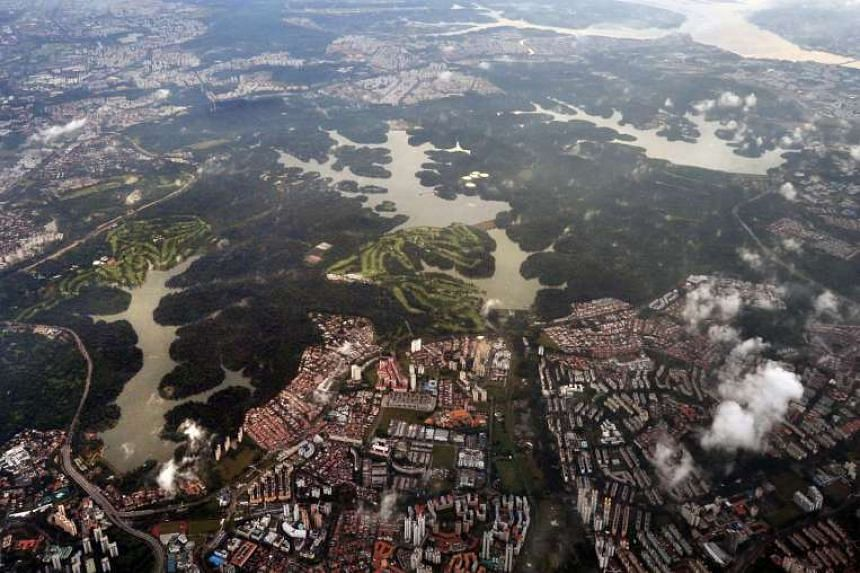 An aerial view of the four reservoirs in the Singapore central catchment area.
