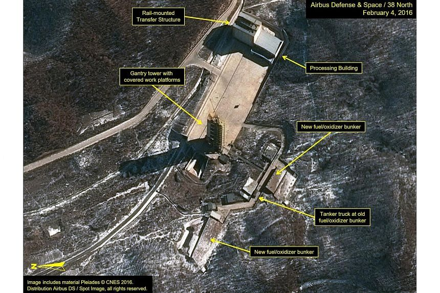 Satellite images show the arrival of tanker trucks at the Sohae Satellite Launching Station in North Korea on Feb 4, 2016.