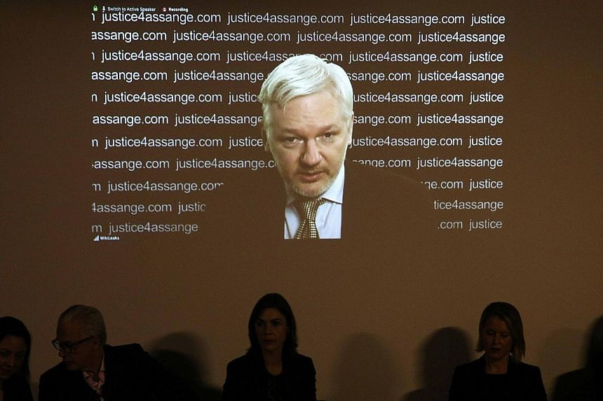"""WikiLeaks founder Julian Assange appearing via video link during a news conference at the Frontline Club in London yesterday, where he hailed a UN finding as a """"significant victory""""."""
