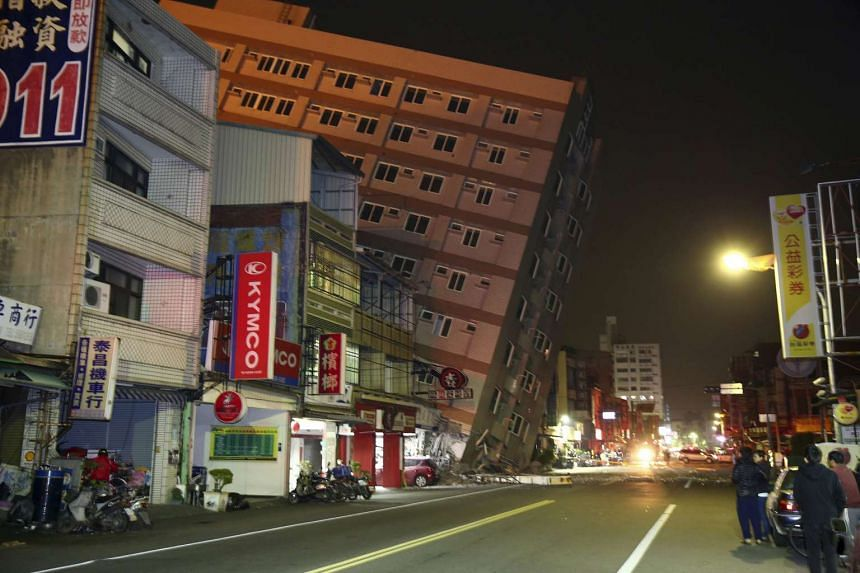 A building is damaged from an earthquake in Tainan, on Feb 6, 2016.