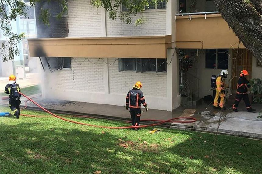 The fire involved the contents of a bedroom in a first-floor flat.