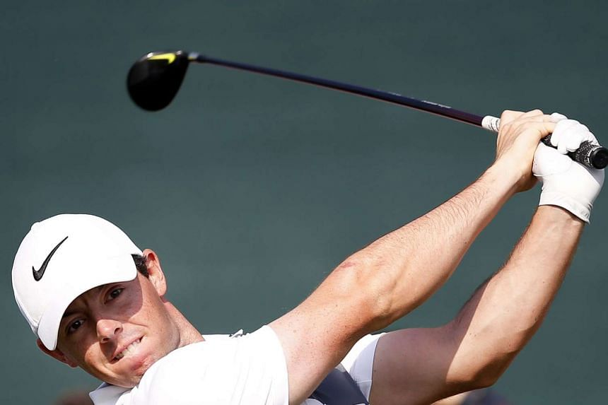 McIlroy of Northern Ireland tees off during the first round of the Omega Dubai Desert Classic 2016.