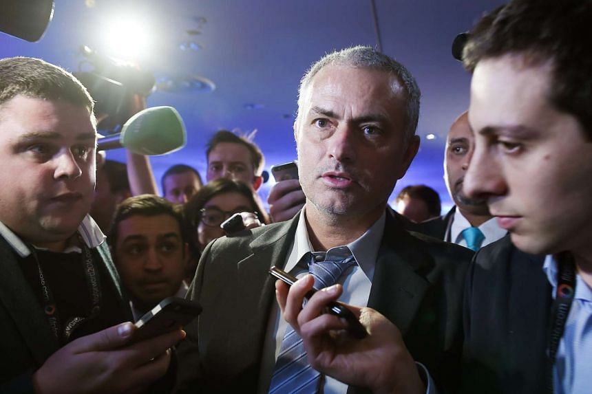 Mourinho is interviewed by the media at a Fifa presidential campaign event in London on Feb 1, 2016.