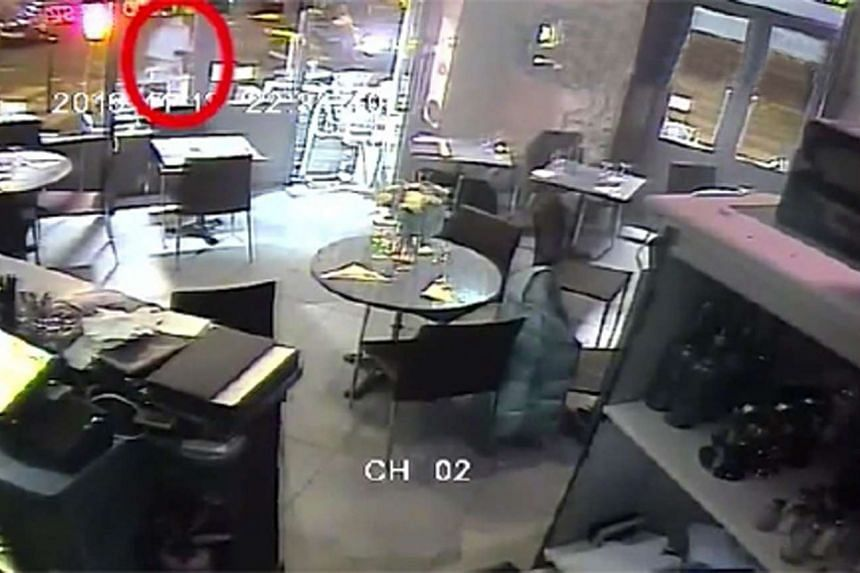 A screengrab from the restaurant's video footage during the Paris attacks published by Britain's Daily Mail newspaper.