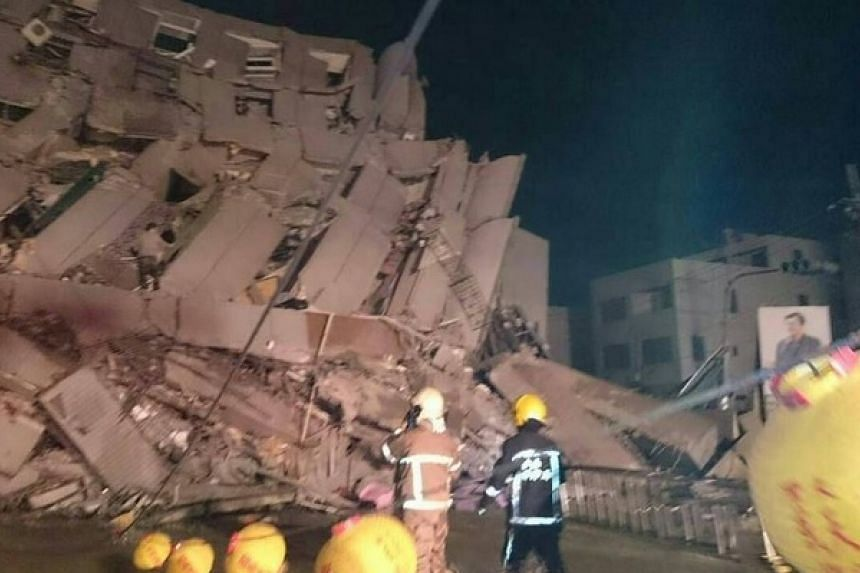 A photo posted to Twitter said to be of the building that partially collapsed in Tainan.