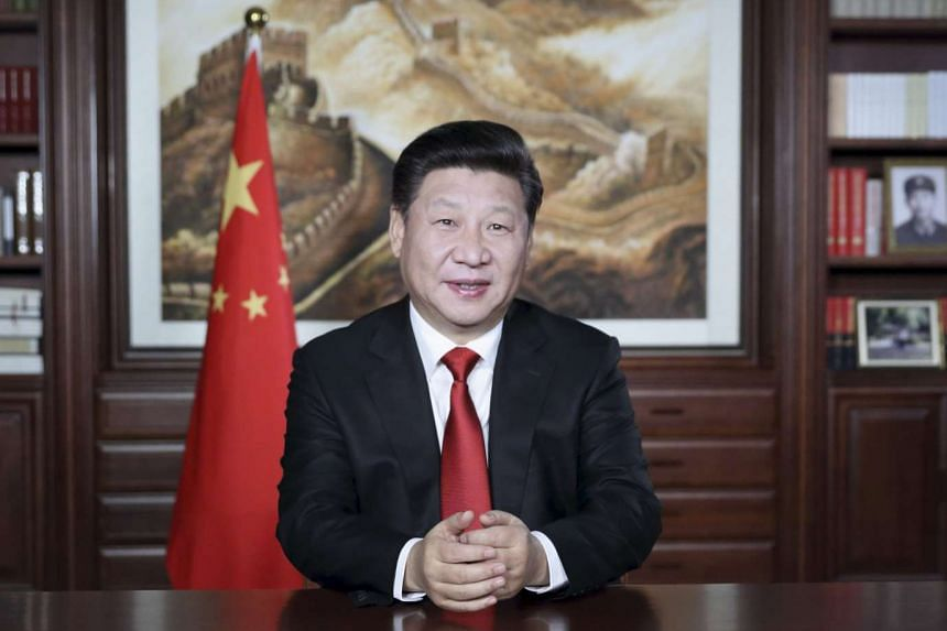 Chinese President Xi Jinping delivering his 2016 New Year speech in Beijing on Dec 31, 2015.