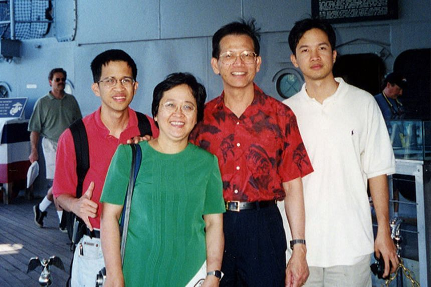 Mr Cheong with his wife Doreen and sons Caleb (left) and Joshua in a photo taken before the 2003 accident in Colorado. Mrs Cheong died in the car crash while Caleb was in a coma for three weeks.