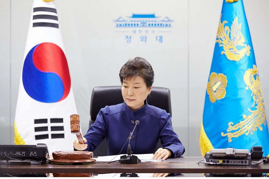 South Korea's President Park Geun Hye at an emergency meeting of the National Security Council at the presidential Blue House in Seoul on Feb 7, 2016.