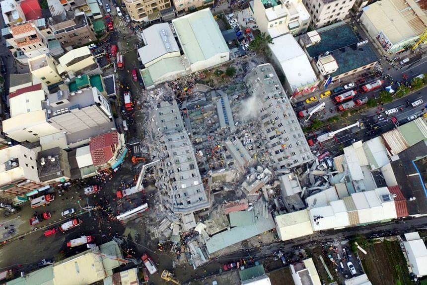 A site where buildings collapsed is seen in this aerial picture.