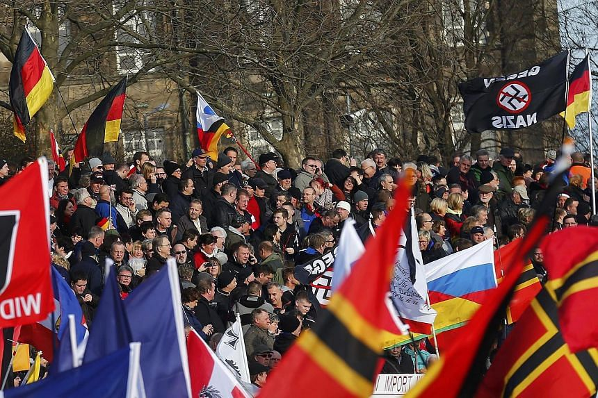 Supporters of the anti-Islam movement Pegida taking part in a demonstration in Dresden, Germany.