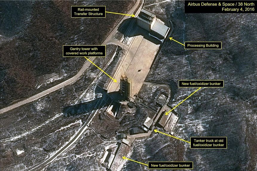 The Sohae Satellite Launching Station in North Korea from a handout released by Airbus Defense & Space and 38 North satellite imagery on Feb 5, 2016.
