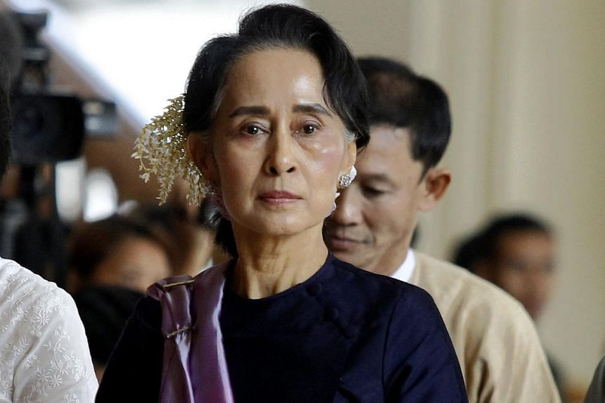 Myanmar democracy leader Aung San Suu Kyi attends the upper house parliament session in Naypyitaw, Myanmar, on Feb 3, 2016.