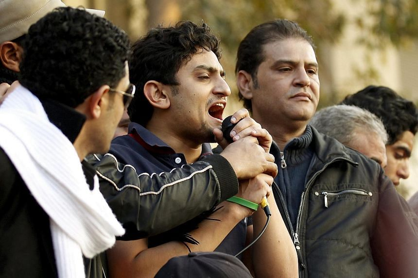 Google Inc executive Wael Ghonim addresses a mass crowd inside Tahrir Square in Cairo, on Feb 8, 2011.